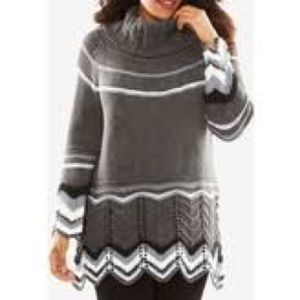 Roaman's Sweaters - Charcoal sweater with zig zag accents